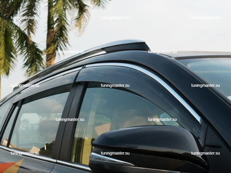 Дефлекторы боковые Toyota RAV4 с хромированным молдингом