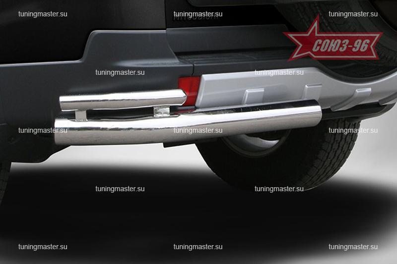 Защита заднего бампера Mitsubishi Pajero 4 углы двойные Ø76/42