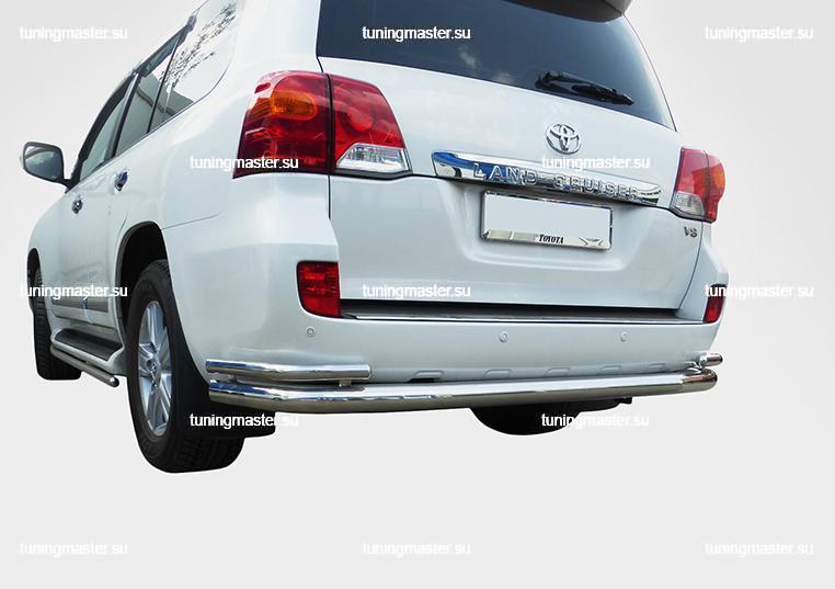 Защита заднего бампера Toyota Land Cruiser 200 труба двойная Ø7648