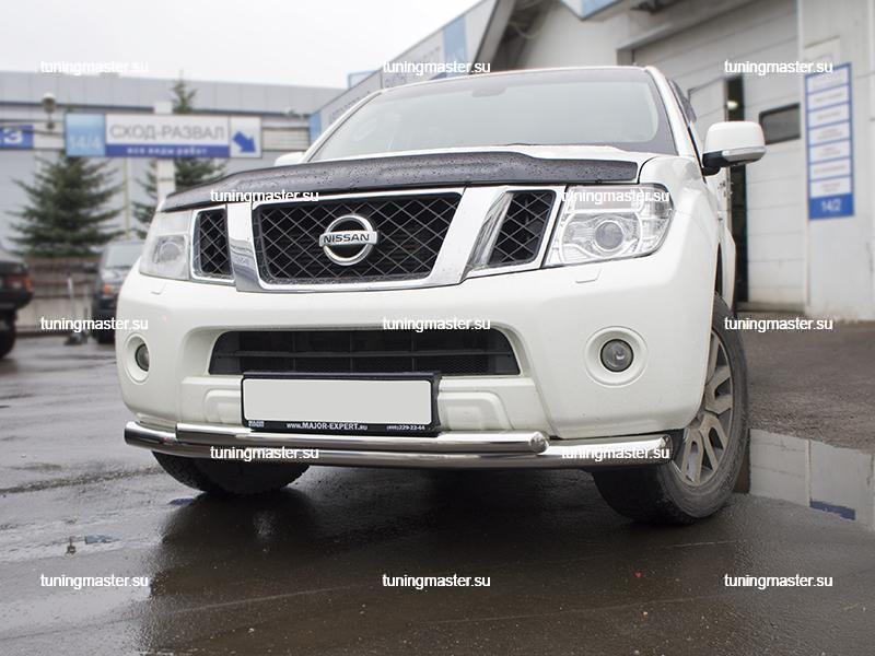 Защита переднего бампера Nissan Pathfinder труба двойная Ø76/57