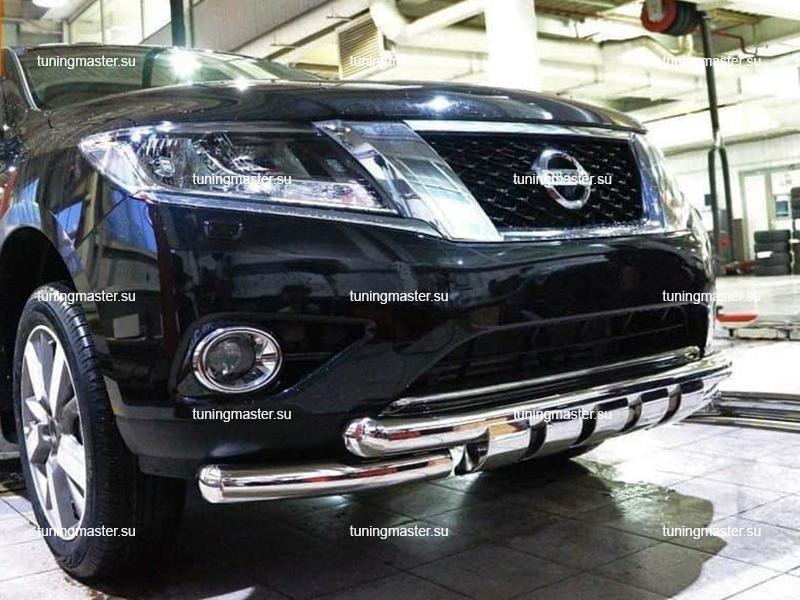 Защита переднего бампера Nissan Pathfinder труба двойная Shark Ø76