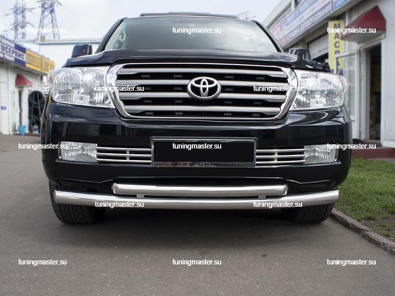 Защита переднего бампера Toyota Land Cruiser 200 двойная радиусная ∅76/60