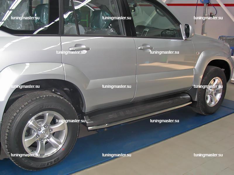 Защита штатного порога Toyota Land Cruiser 120 труба Ø42