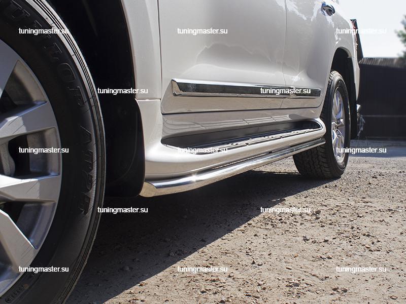 Защита штатных порогов Toyota Land Cruiser 200 труба Ø42