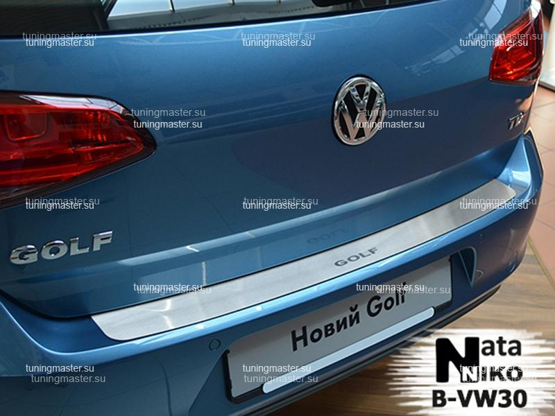 Накладка на задний бампер Volkswagen Golf 7 с логотипом