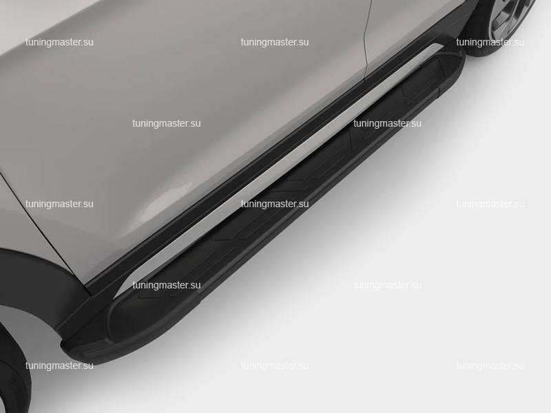 Пороги на авто алюминиевые (Corund Black) Canotomotiv