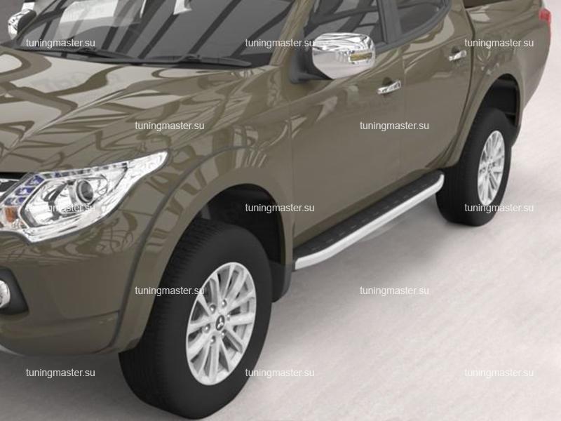 Пороги алюминиевые Mitsubishi L200 (Alyans)