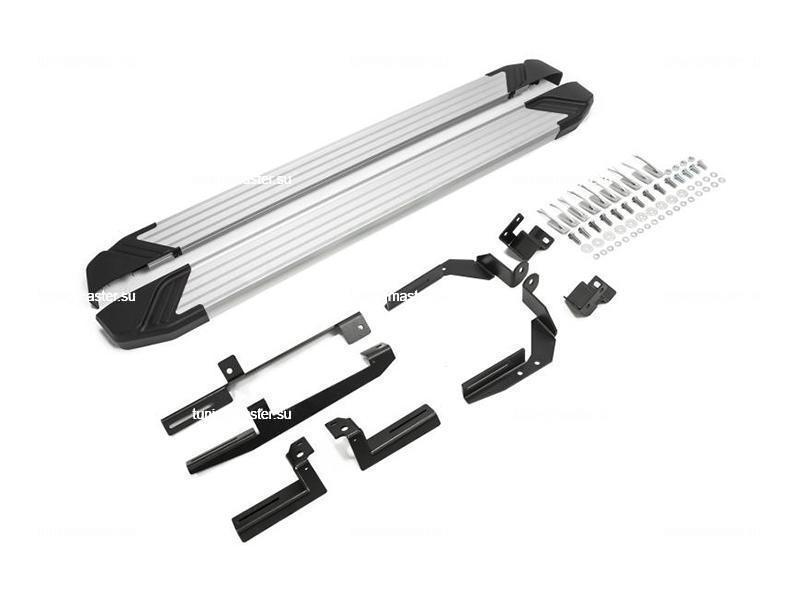 Пороги алюминиевые Kia Sorento Prime (Silver)