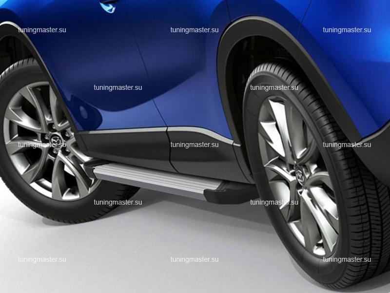Пороги алюминиевые Mazda CX-5 (Silver)