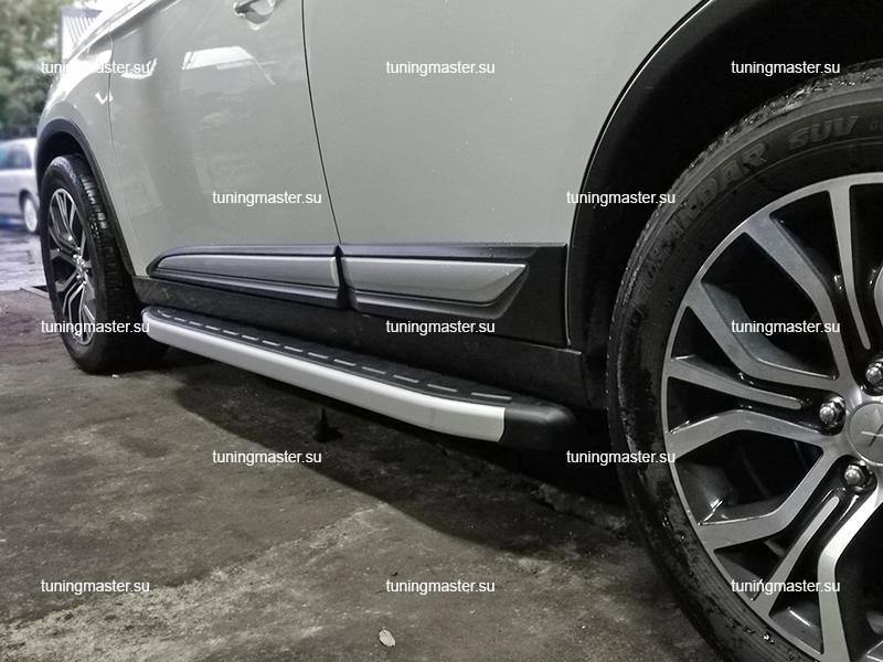 Пороги алюминиевые Mitsubishi Outlander (Alyans)