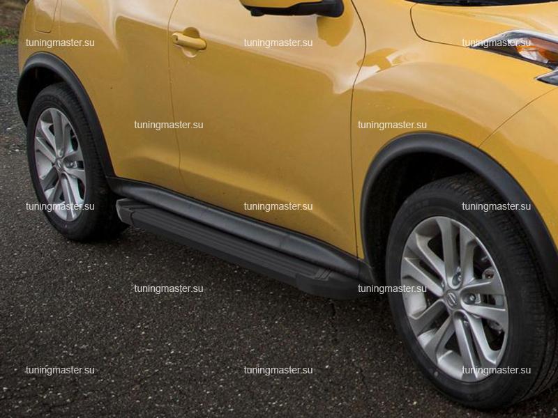 Пороги алюминиевые Nissan Juke (Black)