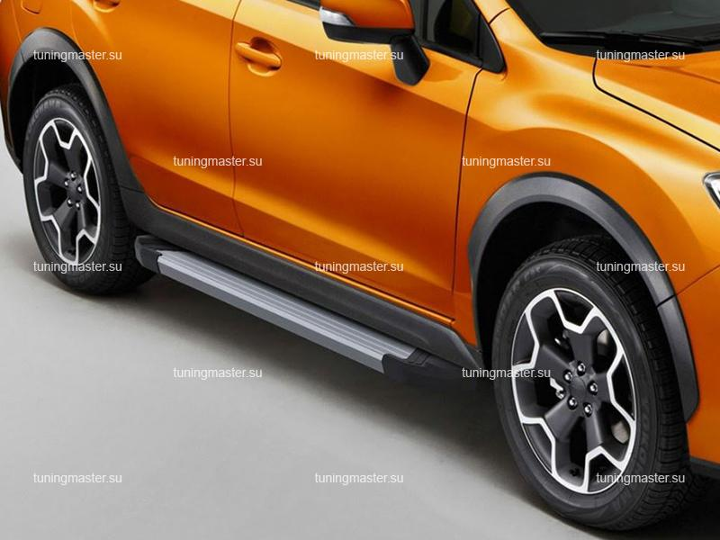 Пороги алюминиевые Subaru XV (Silver)