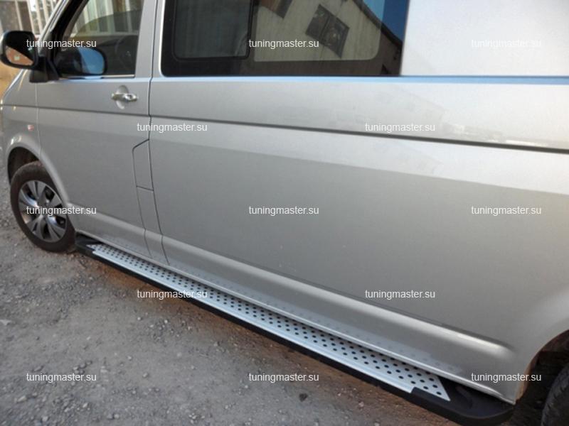 Пороги алюминиевые VolksWagen Transporter T5 (Sapphire) длинная база