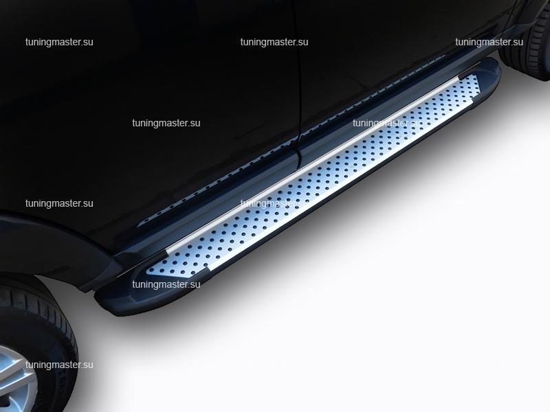 Пороги алюминиевые Ssang Yong Actyon Sports (Sapphire)