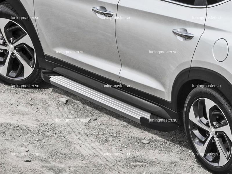 Пороги алюминиевые Hyundai Tucson (Silver)
