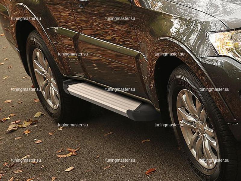 Пороги алюминиевые Mitsubishi Pajero 4 (Silver)