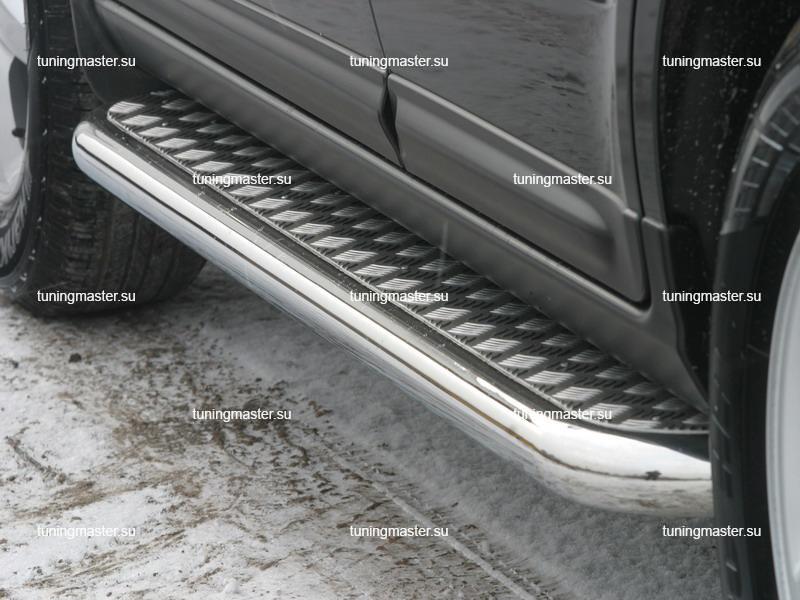 Пороги Hyundai Santa Fe труба с листом Ø60