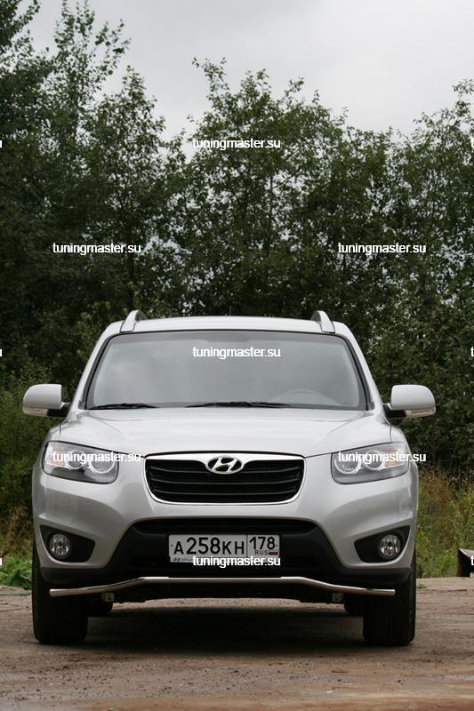 Защита переднего бампера Hyundai Santa Fe труба Ø42 '10- 2