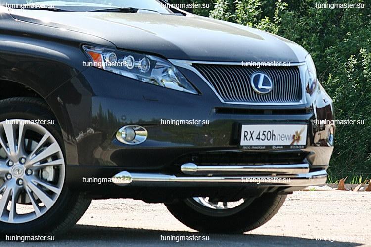 Защита переднего бампера Lexus RX 450H труба двойная Ø76/60