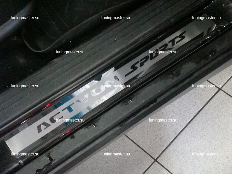 Накладки на пороги Ssang Yong Actyon Sport с логотипом
