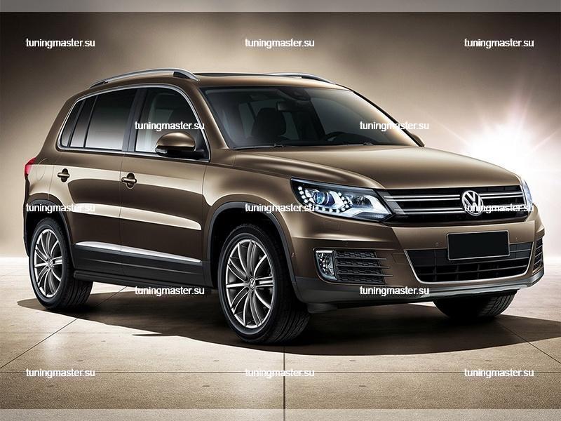 Пороги Volkswagen Tiguan (Black) 2