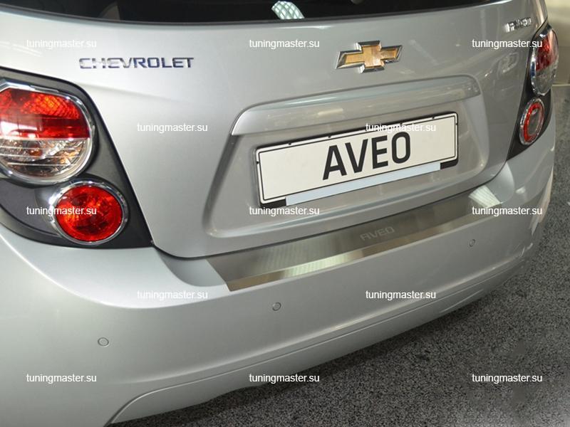 Накладка на задний бампер Chevrolet Aveo 2 с загибом