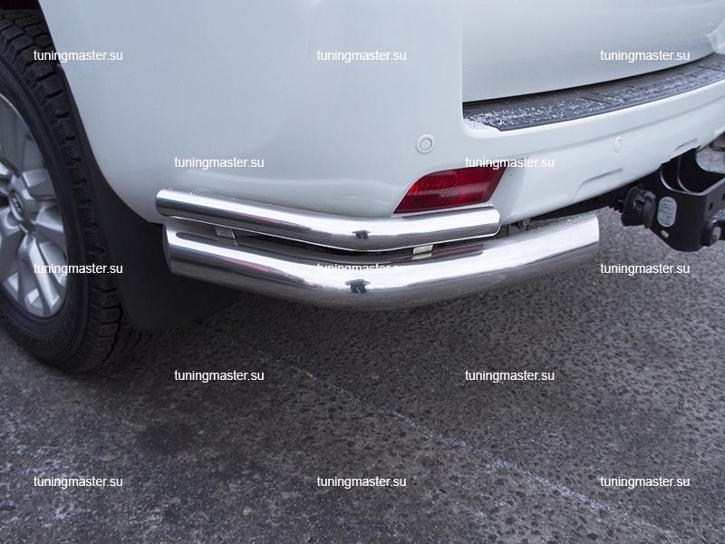 Защита заднего бампера Toyota Land Cruiser Prado 150 углы двойные Ø76/48