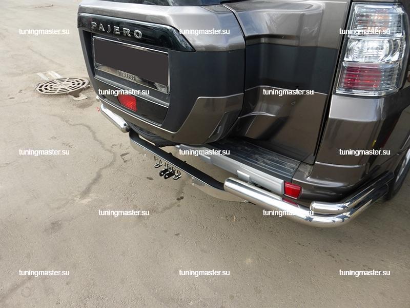 Защита заднего бампера Mitsubishi Pajero IV углы двойные Ø76/42 3
