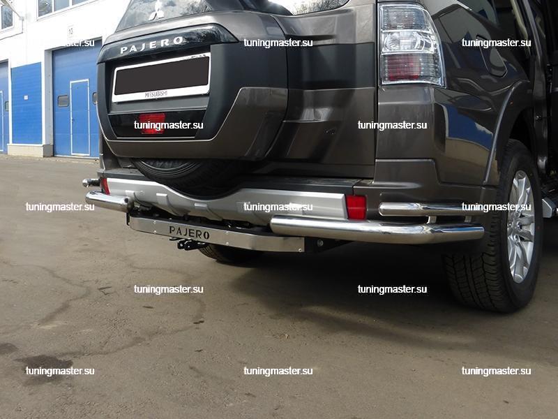 Защита заднего бампера Mitsubishi Pajero IV углы двойные Ø76/42 2