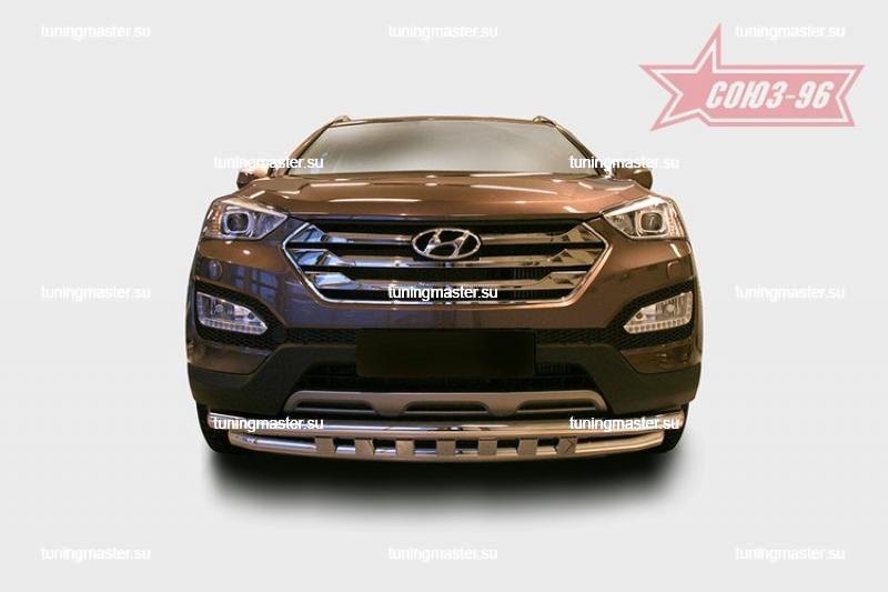 Защита переднего бампера Hyundai Santa Fe труба двойная Ø60/60 с декоративными элементами 2