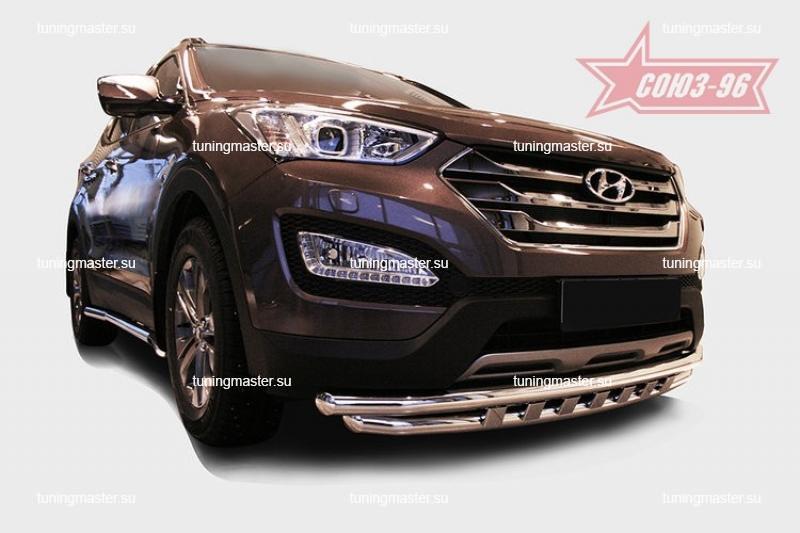 Защита переднего бампера Hyundai Santa Fe труба двойная Ø60/60 с декоративными элементами