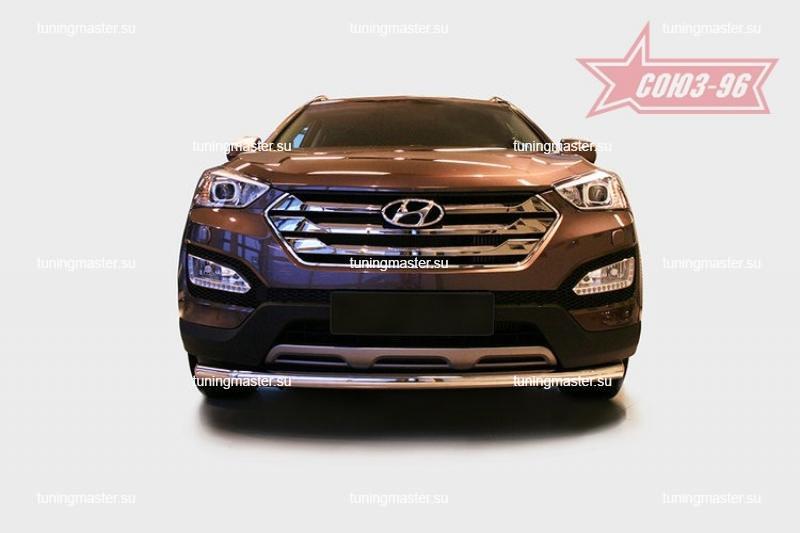 Защита переднего бампера Hyundai Santa Fe труба Ø60