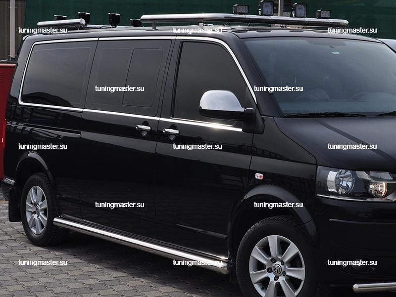Накладки на зеркала Volkswagen Transporter T5 / Multivan / Caravelle '10- (нерж