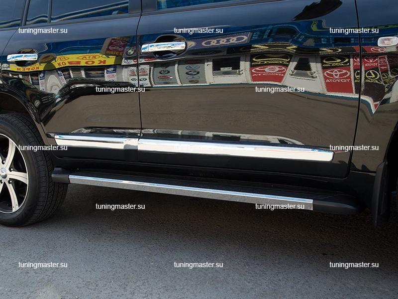 Молдинги боковые Toyota Land Cruiser 200 (черные)