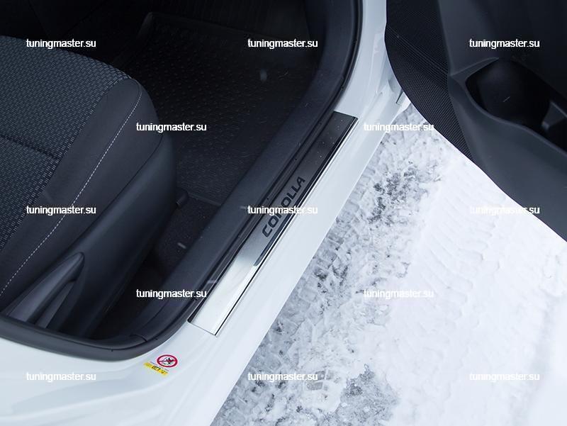 Накладки на пороги Toyota Corolla X с логотипом 2