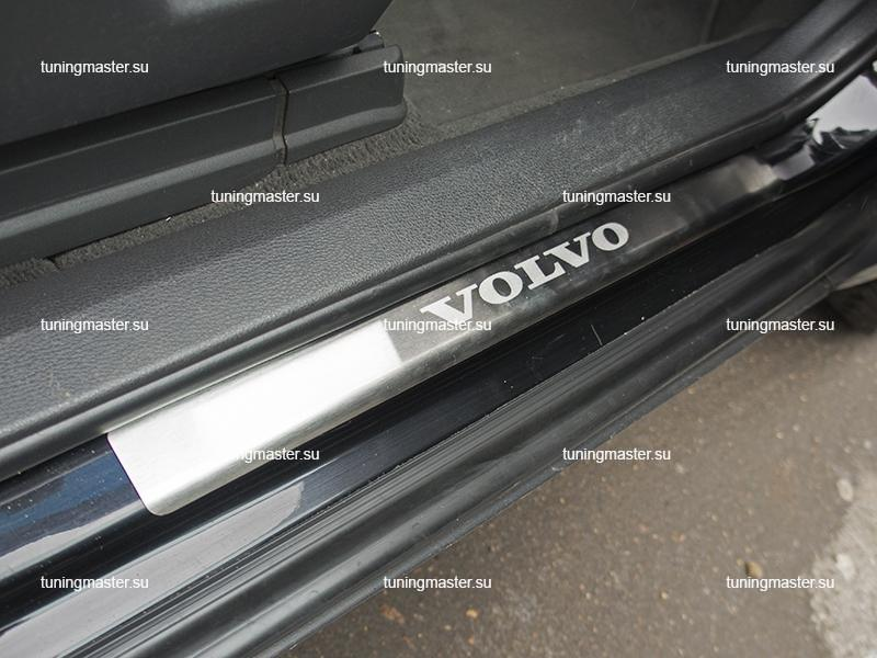 Накладки на пороги с логотипом Volvo XC 90 STANDART