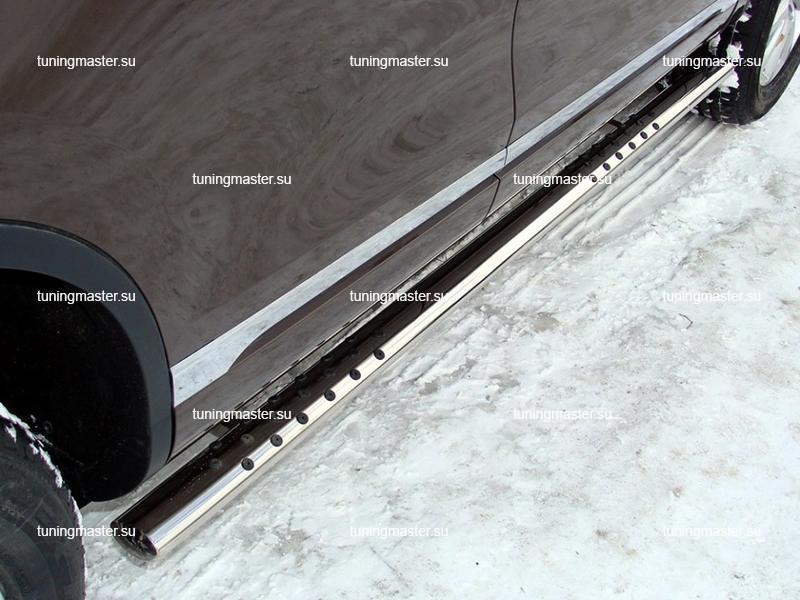 Пороги Hyundai IX 35 овальная труба с проступями Ø75/42