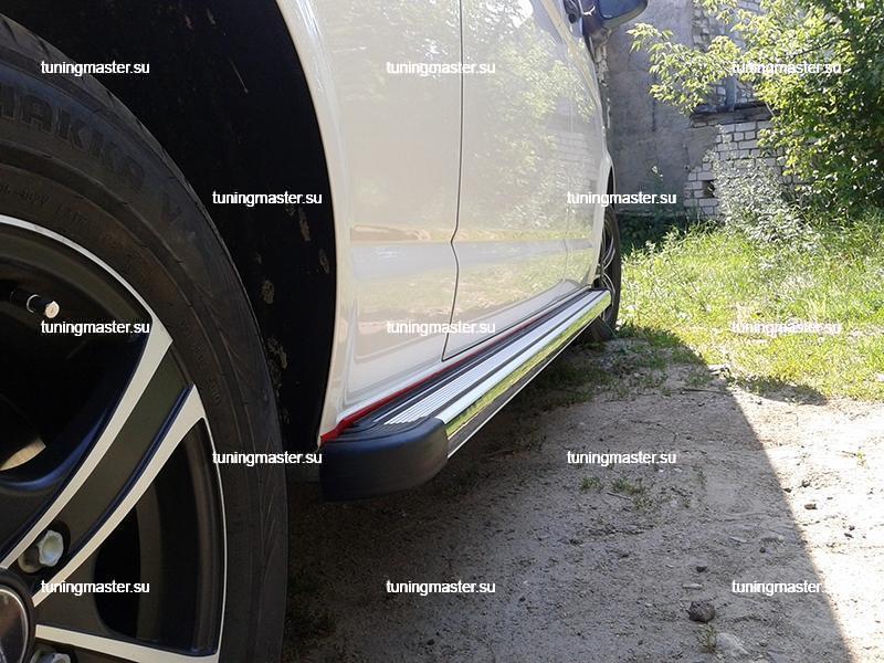 Пороги алюминиевые Volkswagen Transporter T-5 с резиновой вставкой 2