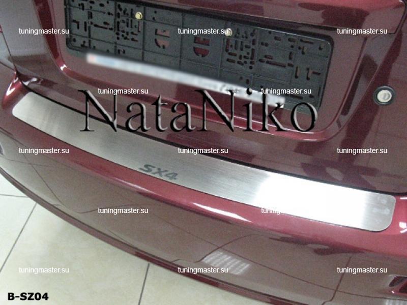 Накладка на задний бампер Suzuki SX4 4D с логотипом