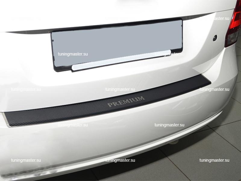 Накладка на задний бампер Chevrolet Aveo 3 с загибом (карбон)