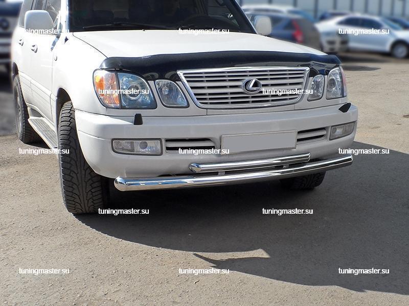 Защита переднего бампера Toyota Land Cruiser 100 двойная Ø76/48 4