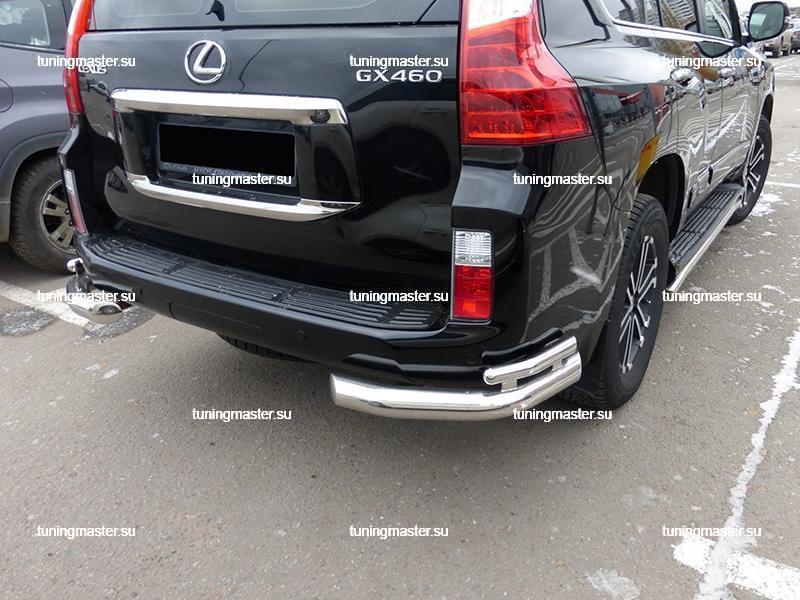 Защита заднего бампера Lexus GX-460 углы двойные Ø76/42 3
