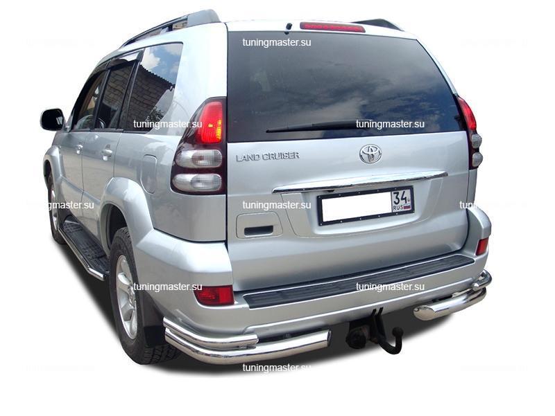 Защита заднего бампера Toyota Land Cruiser Prado 120 углы двойные Ø76/42