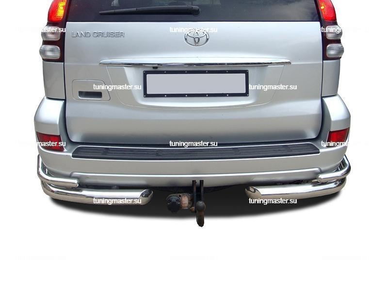 Защита заднего бампера Toyota Land Cruiser Prado 120 углы двойные Ø76/53 2