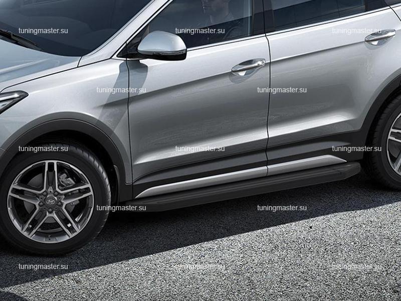 Пороги алюминиевые Hyundai Grand Santa Fe (Black)