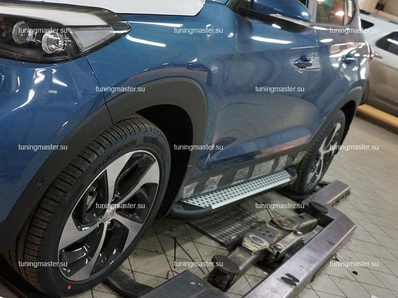Пороги алюминиевые Hyundai Tucson 3 (Sapphire)