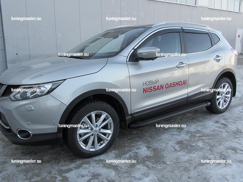 Пороги алюминиевые Nissan Qashqai (Optima Black)