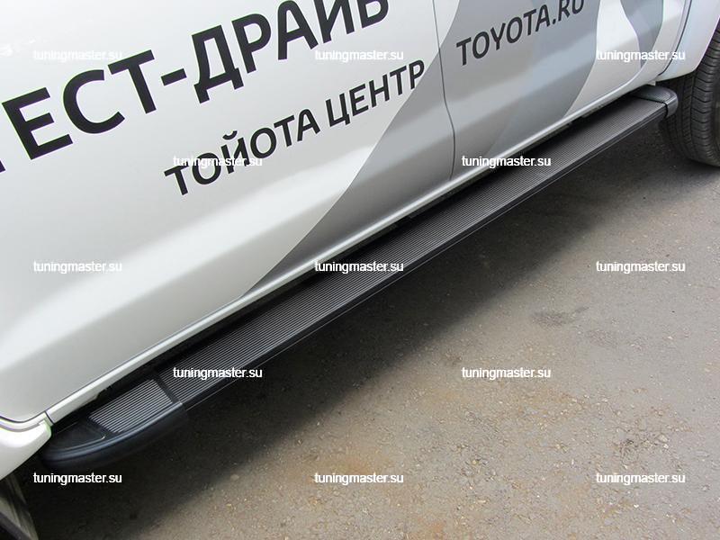 Пороги алюминиевые Toyota Hilux (Optima Black)