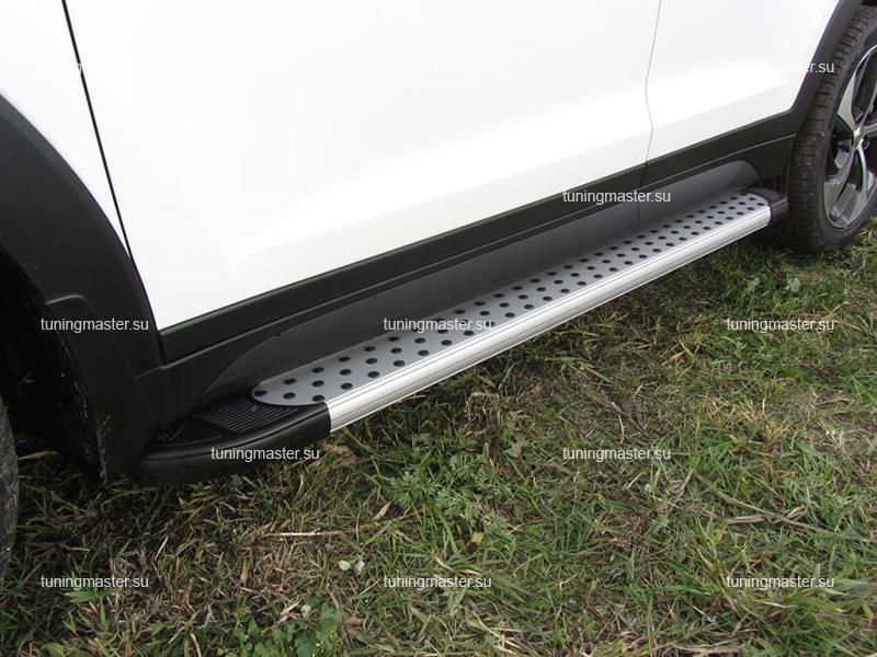 Пороги алюминиевые Hyundai Tucson (Standart Silver)