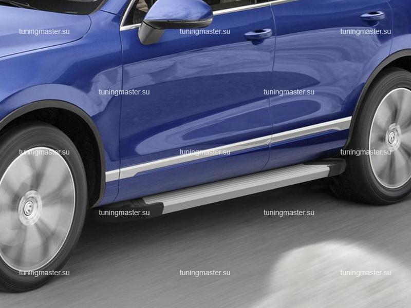 Пороги алюминиевые Volkswagen Touareg (Silver)